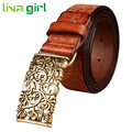 Hot Sale New Fashion Ethnic Wide PU PU Leather Belt Woman Vintage Floral Belts Women Top Quality Strap Female Jeans Oct29