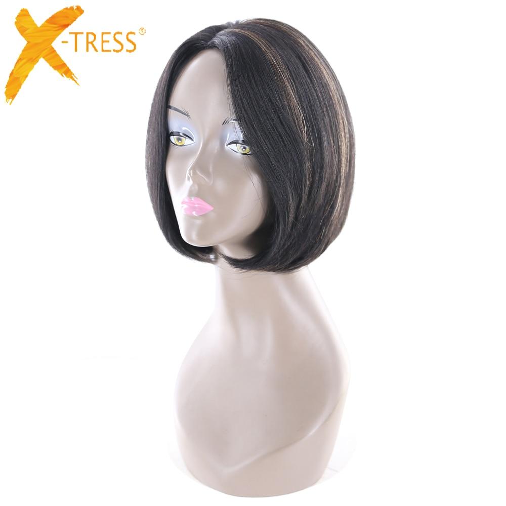 Ombre brun couleur courte Bob cheveux humains perruques partie latérale X-TRESS brésilienne droite afrique américaine non-remy perruque de cheveux pour les femmes