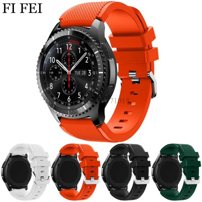 FI FEI Watchband Black 22mm New Fashion Sports Frontier Rubber Silicone Bracelet Wrist Strap Band For Samsung Gear S3 Watch Band 18 colors rubber wrist strap for samsung gear s3 frontier silicone watch band for samsung gear s3 classic bracelet band 22mm