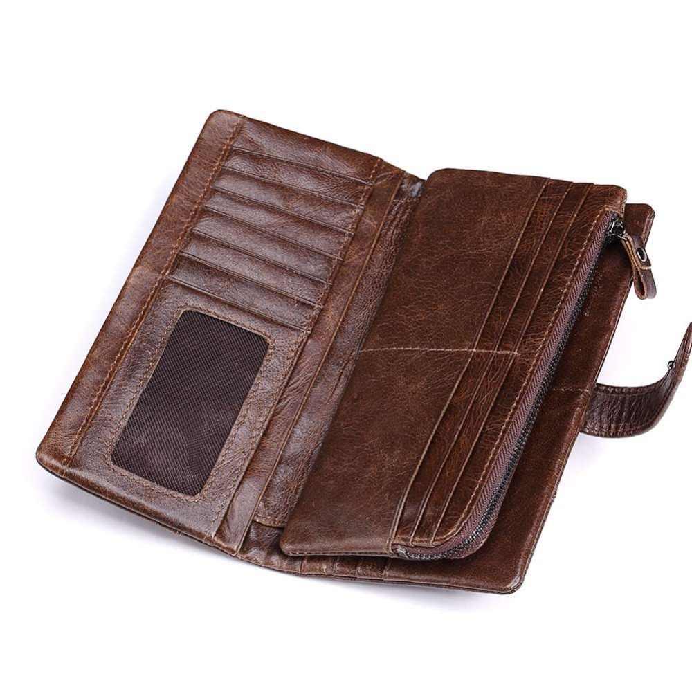 KAVIS Lüks Marka 100% Hakiki Inek Derisi Deri Portomonee Vintage Cüzdan Erkek Cüzdan Erkek Uzun Debriyaj bozuk para cüzdanı Cep Rfid