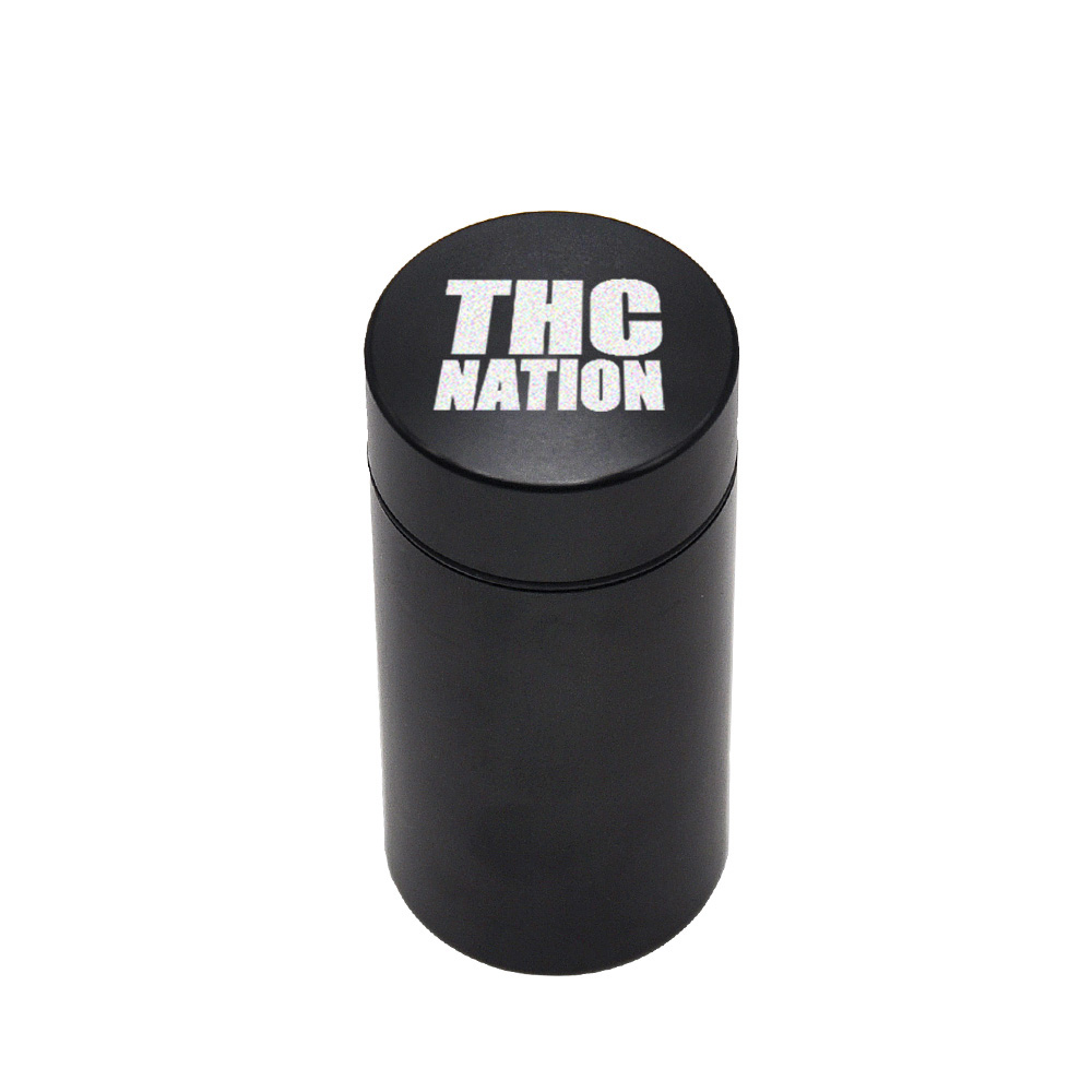 Тайник jar-герметичная запах доказательство Алюминий травы контейнер травы Шлифовальные станки курительная трубка Pill Box, отправить сигары держатель+ Стекло советы для - Цвет: Black-ThcNation