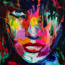 Emberish Francoise Nielly Knife Pittura ad olio HD Stampa su tela Home Decor Figure Immagini a parete Colorful Face Portrait Opere d'arte