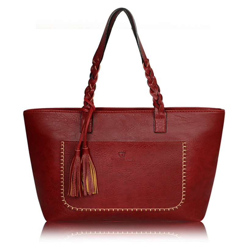 ombro borla pu vintage leather Size : 34*32*12cm