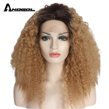 Anogol Dark Roots Ombre Brown Synthetic Lace Front Wig Bob Short Curly Glueless Heat Resistant Fiber Hair Women Wigs 2 Tones