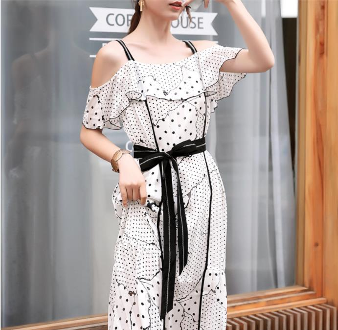 2019 Off Shoulder Strap Midi Dress Sexy Elegant Women Summer Dress With Belt Vestidos De Verano - 3