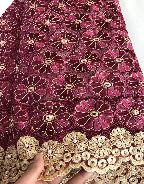 Wine Gold veritable french lace African Swiss tulle lace fabric floral embroidery Nigerian sewing cloth high quality 5 yards Hot 1