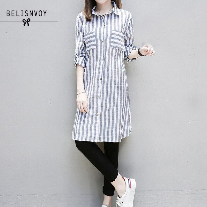 XL-5XL Plus Size Tops 2018 Autumn Women Clothing Casual Blouses Long Sleeve Striped Turn-down Collar Ladies Long Shirts Blusas