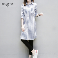 Xl 5xl Plus Size Tops 2017 Autumn Women Clothing Casual Blouses Long Sleeve Striped Turn Down