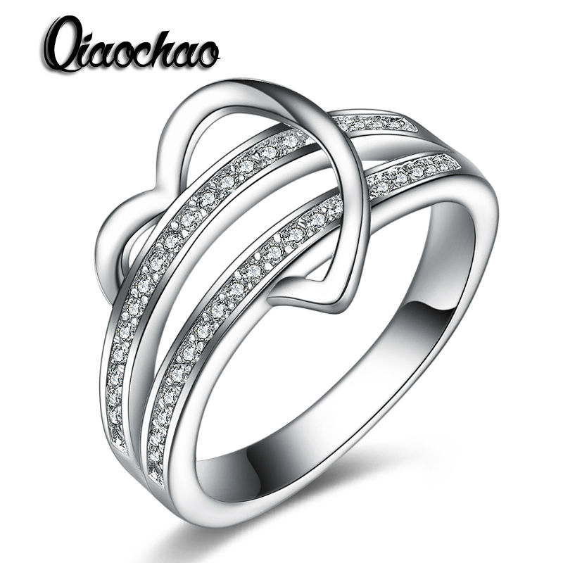 Модные украшения в форме сердца Обещание Кольца CZ Обручальные кольца для Для женщин Bijoux Femme Свадьба Любовь Подарки