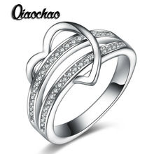 Fashion Jewelry Shaped Heart CZ Promise Ring Engagement Rings for Women Bijoux Femme Wedding Love Gifts