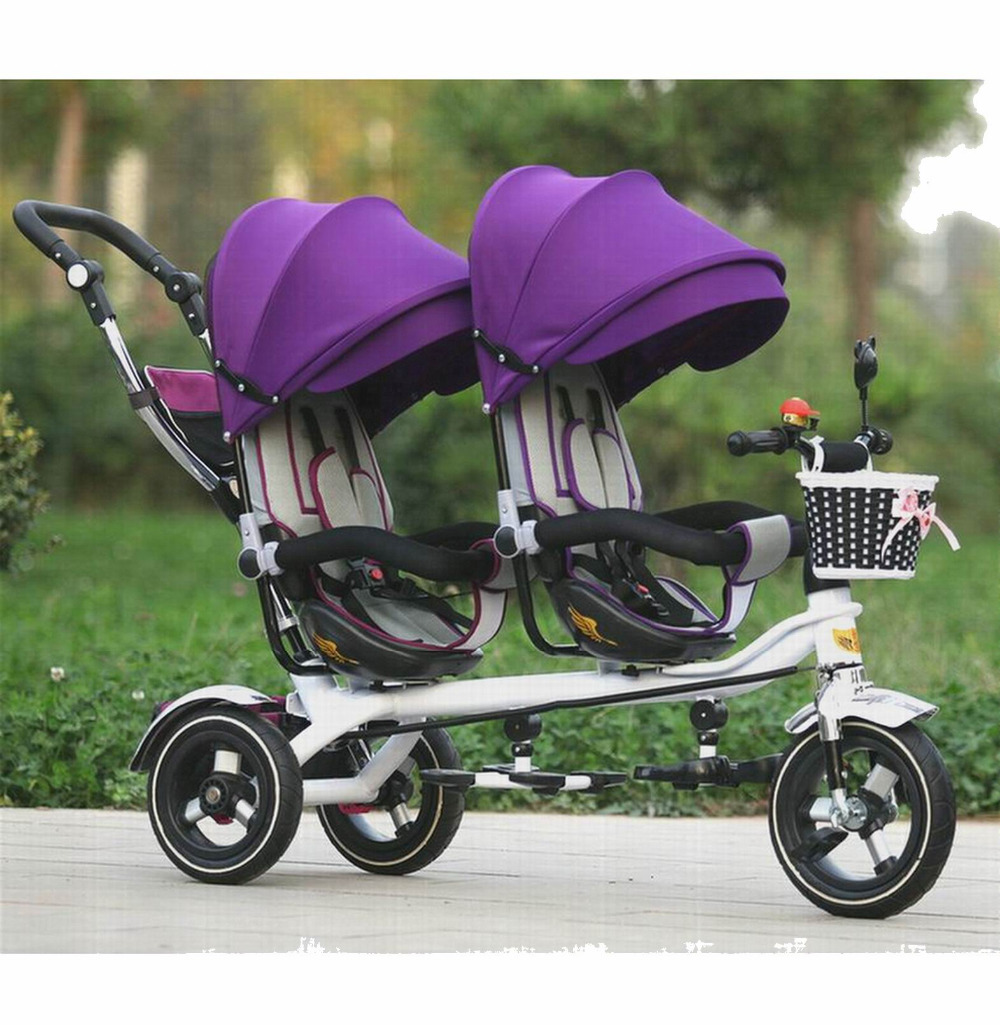2016 new arrival good quality Twins child tricycle bike double seat tricycle trolley baby bike for 6monthes to 6 years labas child tricycle kids ride on cars for 2 6 years baby outdoor bike