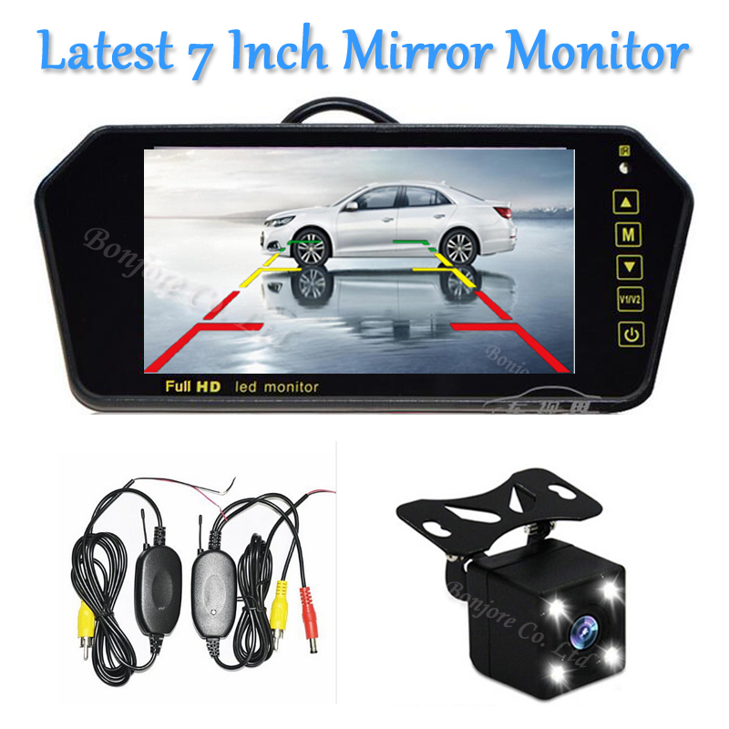 2017 Latest 7 Inch TFT Monitor LCD Rearview Mirror Monitor Screen 12V CCD Rear View Backup