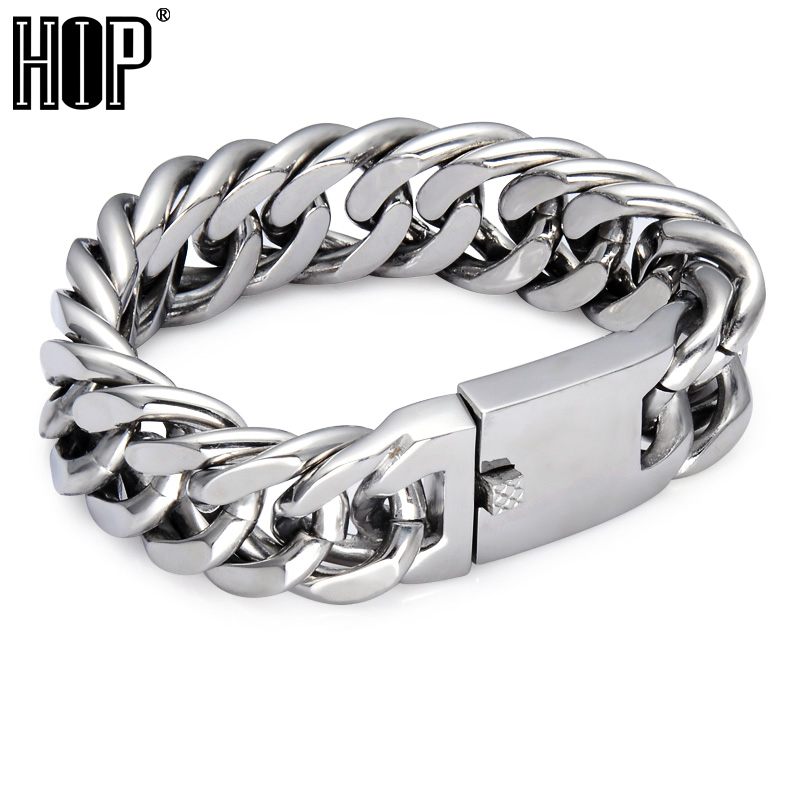 HIP 22MM Wide Heavy Rock Link Chain Bracelet 22CM Long Silver Color 316L Stainless Steel Miami Cuban Bracelets for Men Jewelry trustylan shiny glossy 316l stainless steel mens bracelets 2018 20mm wide chain bracelets jewellery accessory man bracelet