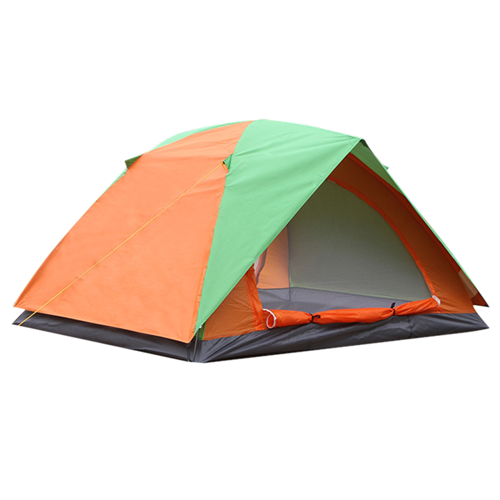 New Outdoor Camping Hiking 4-Person Waterproof 180T Polyester Double Layer Tent for Family Hiking Camping Pinic high quality outdoor 2 person camping tent double layer aluminum rod ultralight tent with snow skirt oneroad windsnow 2 plus