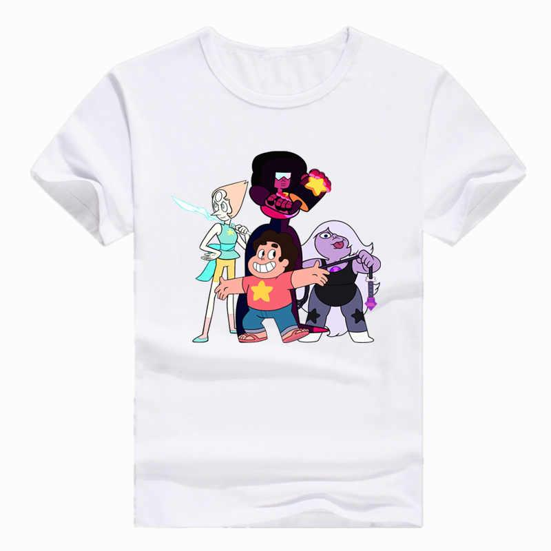 Tamaño asiático impresión Steven universo de dibujos animados camiseta Camiseta de manga corta o-cuello de la camiseta para los hombres las mujeres poliéster HCP4120