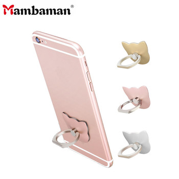 Mambaman 360 Degree Finger Ring Cat Ring Cute cartoon Mobile Phone Smartphone Stand Holder For all Phone Luxury Couple Models smartphone
