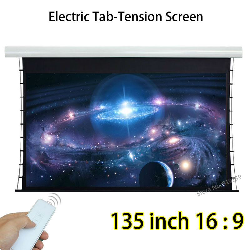 135 Diagonal 16:9 Widescreen Tab Tensioned Electric Projection Screen With Tubular Motor For BenQ Epson 3D Projector 92 16 9 aluminum in ceiling recessed electric projector screen 4k ultra hd ready hdtv in ceiling electric projector screen