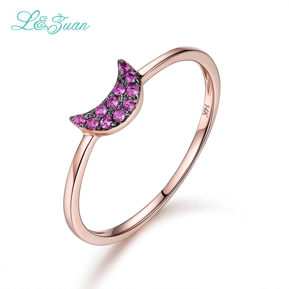 L & Zuan 14K Rose Gold Moon Rings For Natural Natural Ruby Jewelry - Նուրբ զարդեր