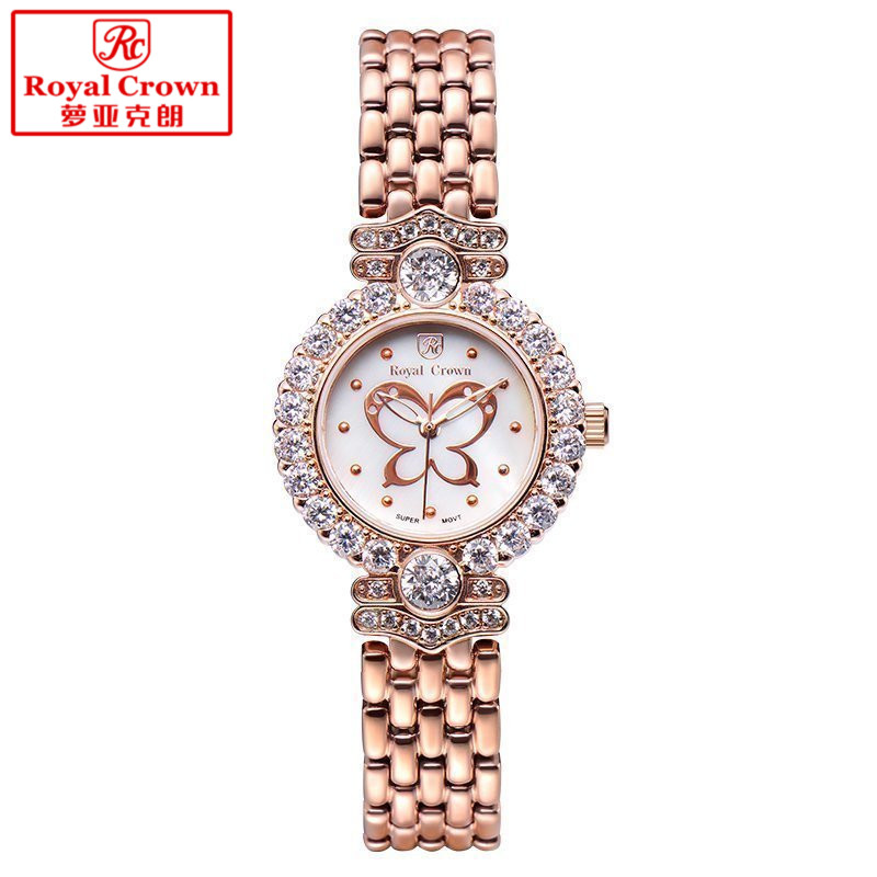 Luxury Jewelry Lady Women's Watch Fine Fashion Hours Mother of Pearl Bracelet Rhinestone Butterfly Girl's Gift Royal Crown Box