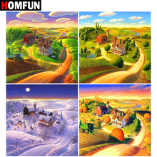 HOMFUN Full Square/Round Drill 5D DIY Diamond Painting Four seasons scenery 3D Embroidery Cross Stitch Home Decor