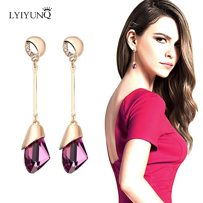 LYIYUNQ High Quality Austrian Crystal Pending Dangling Long Earrings For Women Rhinestone Earring Fine Wedding Jewelry Brincos