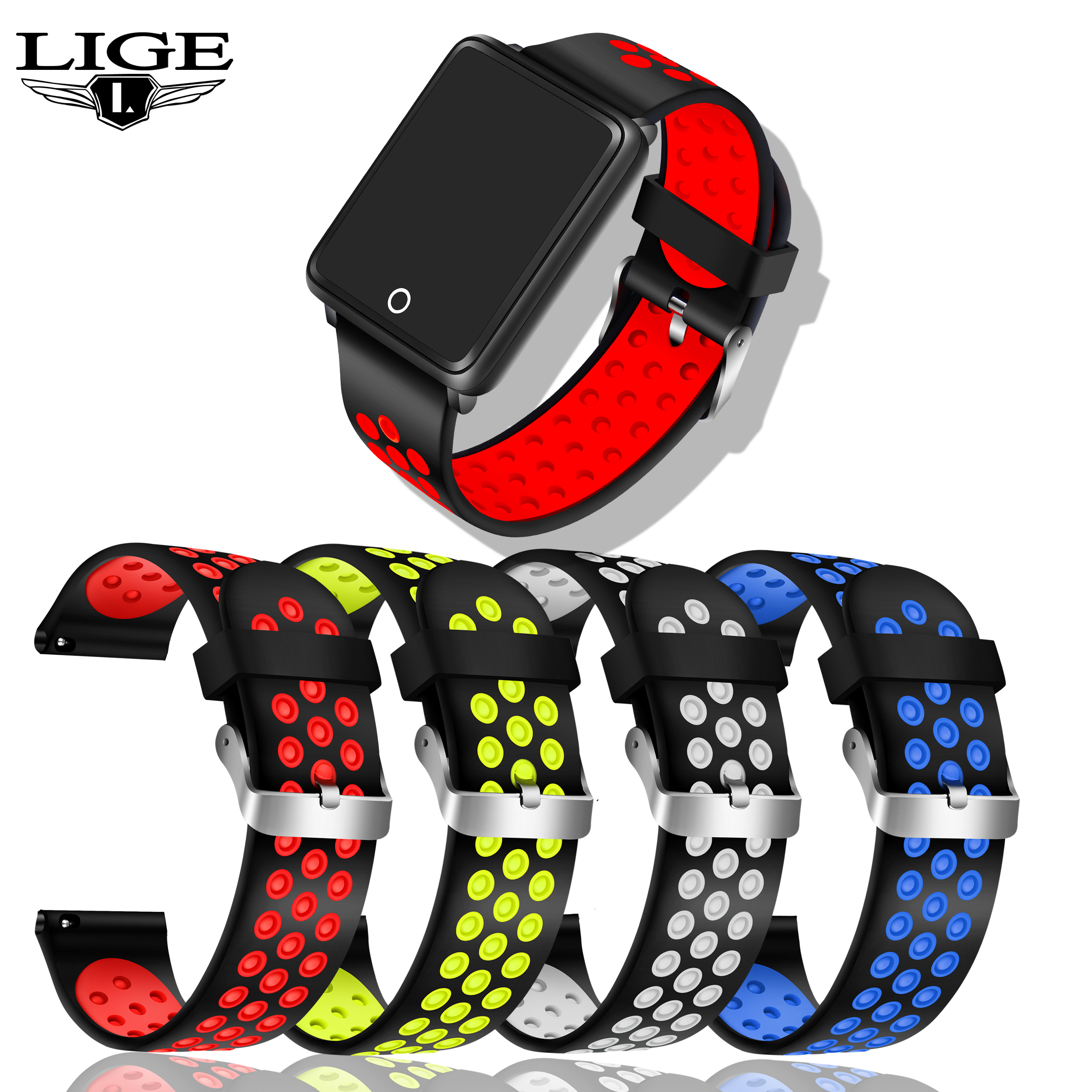 LIGE BW0062 Smart Watch Replacement Soft Silicone Wristband Strap Replaced With Bracelet