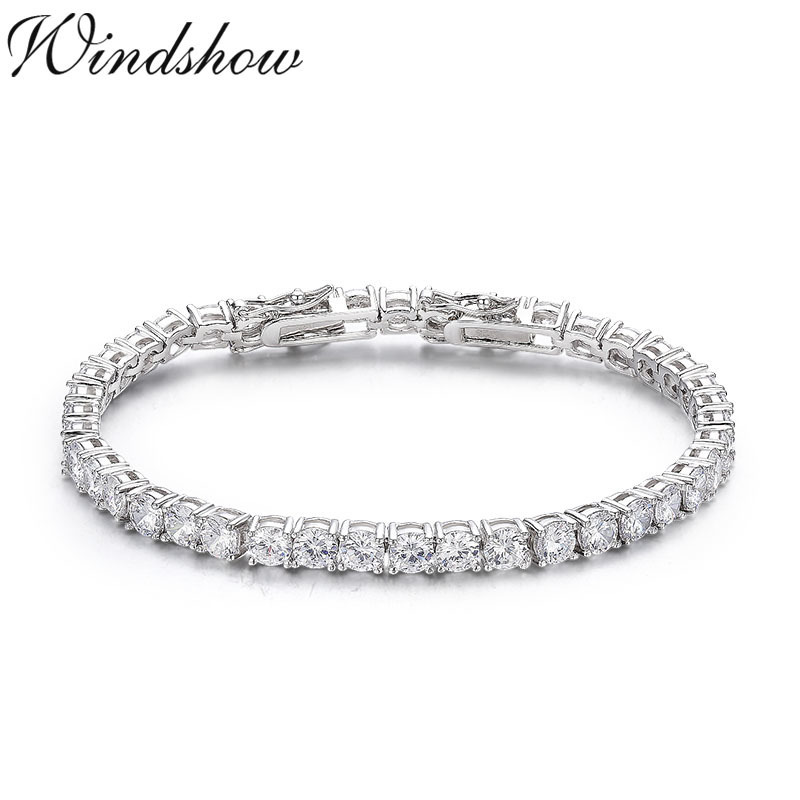 925 Sterling Silver Cluster Round CZ Zironia Tennis Bracelets Pulseras Pulseira Bracelete Women Wedding Jewelry Girls