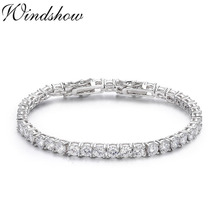 5mm 925 Sterling Silver Cluster Round CZ Zironia Tennis Bracelets Pulseras Pulseira Bracelete Women Wedding Jewelry Girls Friend