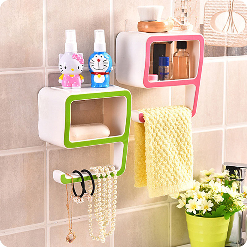 1pc Plastic Number 9 Shape Storage Soap Rack Boxes Suction Holder Make up Bathroom Washroom Organizers Decoration Home Supply