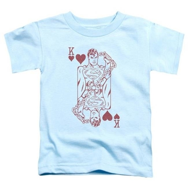 Trevco Dc-Super Card – Short Sleeve Toddler Tee – Light Blue Medium 3T