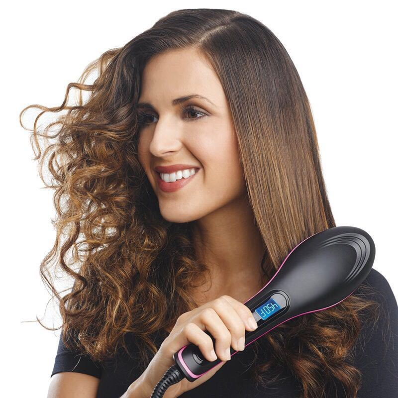 Pro Straightening Irons Electric Hair Straightener Brush Styling Hair Straightener Comb Hair Care Auto Massager Simply Fast Hair