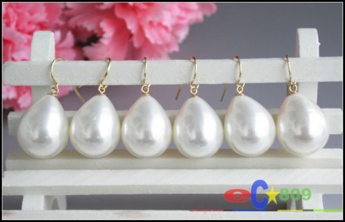 wholesale 3pair 21mm white drip south sea shell pearl earring