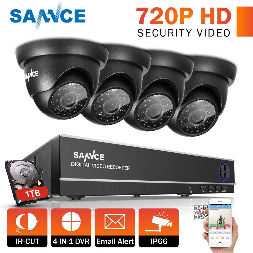 SANNCE 8CH 1080N DVR 1080 P HD NVR système CCTV 4 pièces 720 P TVI caméras de sécurité IR Intérieur Extérieur CCTV Vidéo surveillance