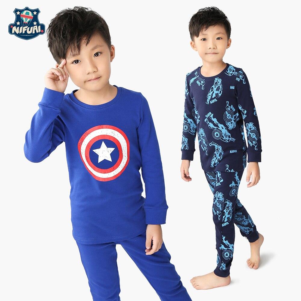 Гонконг NFI 2017 Зима и Капитан Америка для мальчиков с рисунком героев из мультфильма, домашняя одежда костюм, два комплекта детская одежда дл...