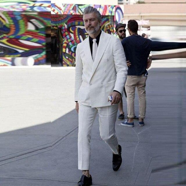 091a52e026bf4 Summer Ivory Linen Men Suits Pants Big Peaked Lapel Groom Wedding Tuxedos  Man Blazers Costume Homme