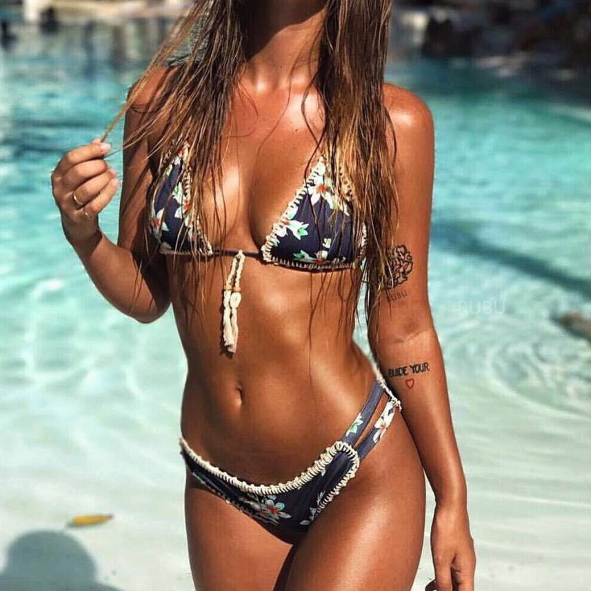 NEW Patchwork Women Print Push-Up Padded Bra Beach  Bikini Set Swimsuit Sexy Swimwear Breathable Women's Swimsuits Swimming Suit b bang new 2015 women sports bra push up breathable bra for running fitness workout gym underwear crop tops for women 6 colors