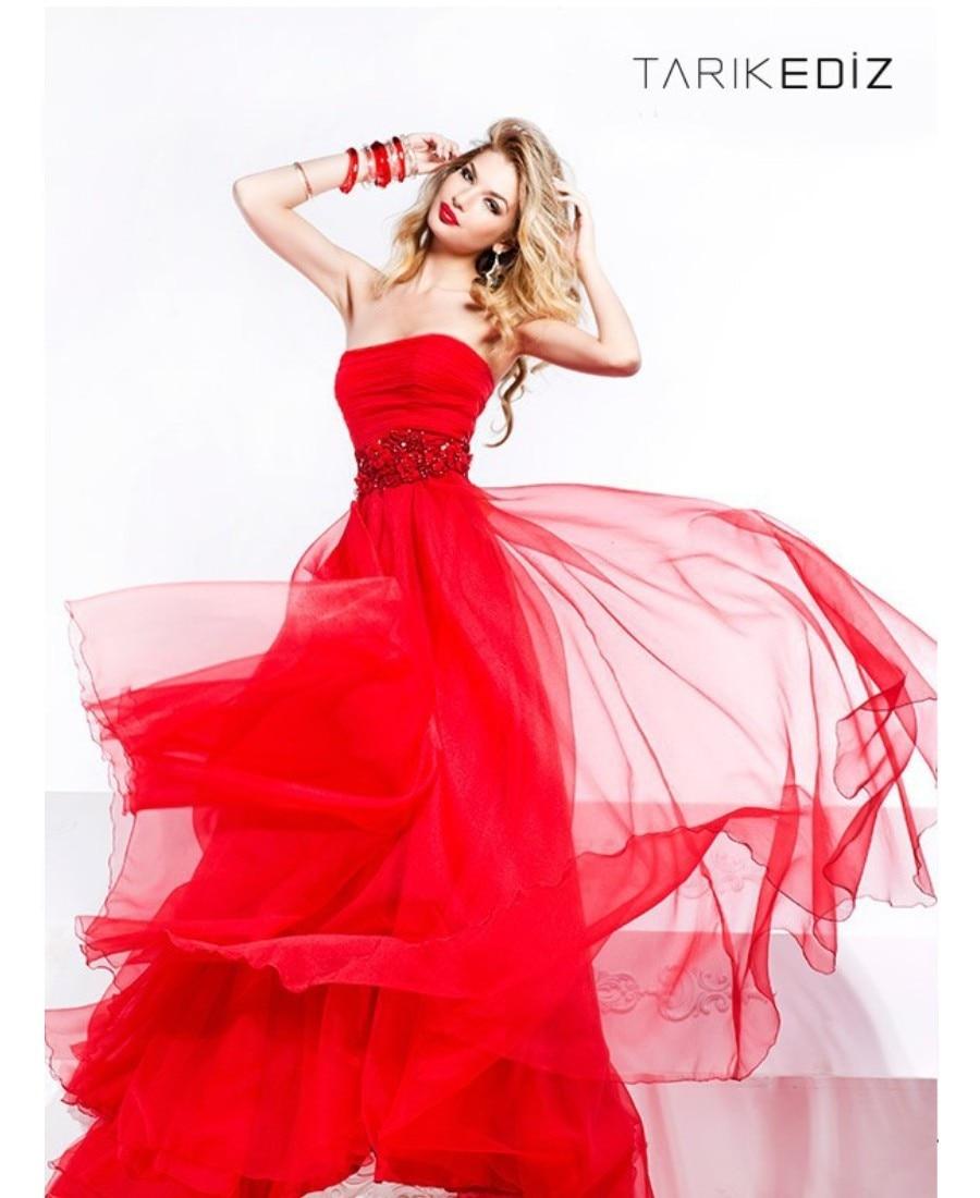 2017 Impresionante Vestido de Noche Rojo Sin Tirantes de la Longitud ...