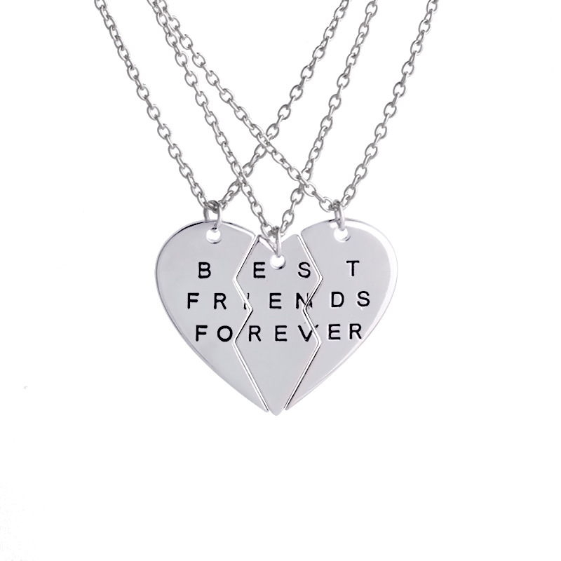 Friendship Necklace Set Best Friends Forever BFF Valentine Heart 3 Parts Brother Best Buds Pendant Necklaces Charm Choker