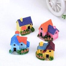 1PC Random Color Cute Mini Resin House Miniature Fairy Garden Micro Landscape Home Decoration Crafts