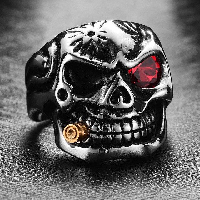 Gold Smoking Pipe Punk Biker Men's Rings Titanium Steel Clear Zircon Vintage Skull Gothic Jewelry Accessories