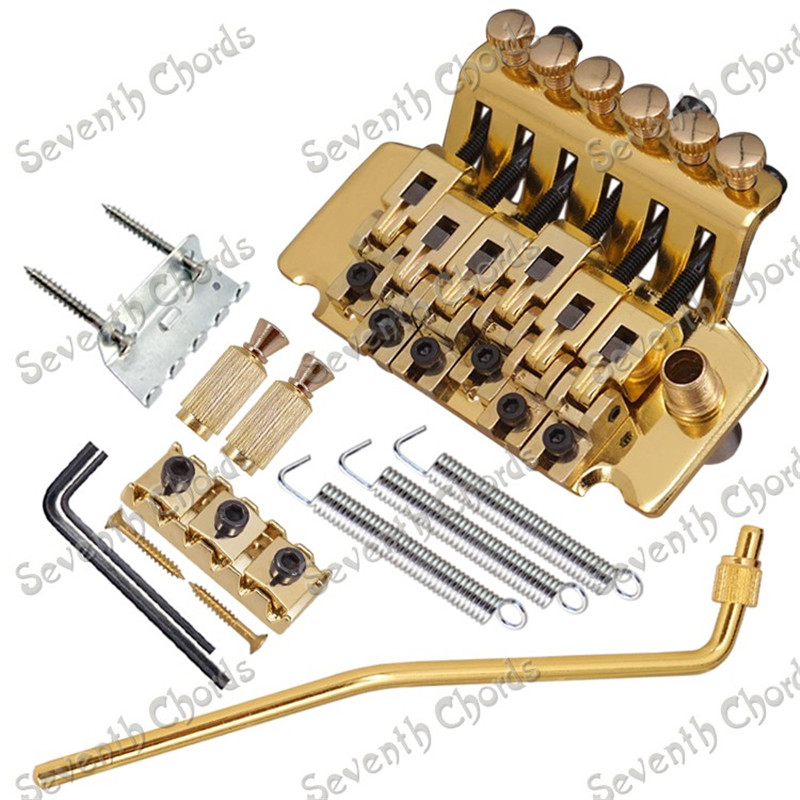 A Set Left Handed Electric Guitar Tremolo Bridge Double Locking Systyem With Whammy Bar Chrome Black Gold for choose yibuy free shipping gold tremolo bridge set for electric guitar