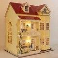 Diy grande casa de bonecas casa modelo de construção handmade com luzes 3D de madeira em miniatura casa de boneca de brinquedo - conto de fadas Homestead