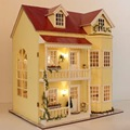 Diy large Dollhouse villa Model Building handmade with lights 3D Miniature Wooden Doll house Toy-Fairy Tale Homestead