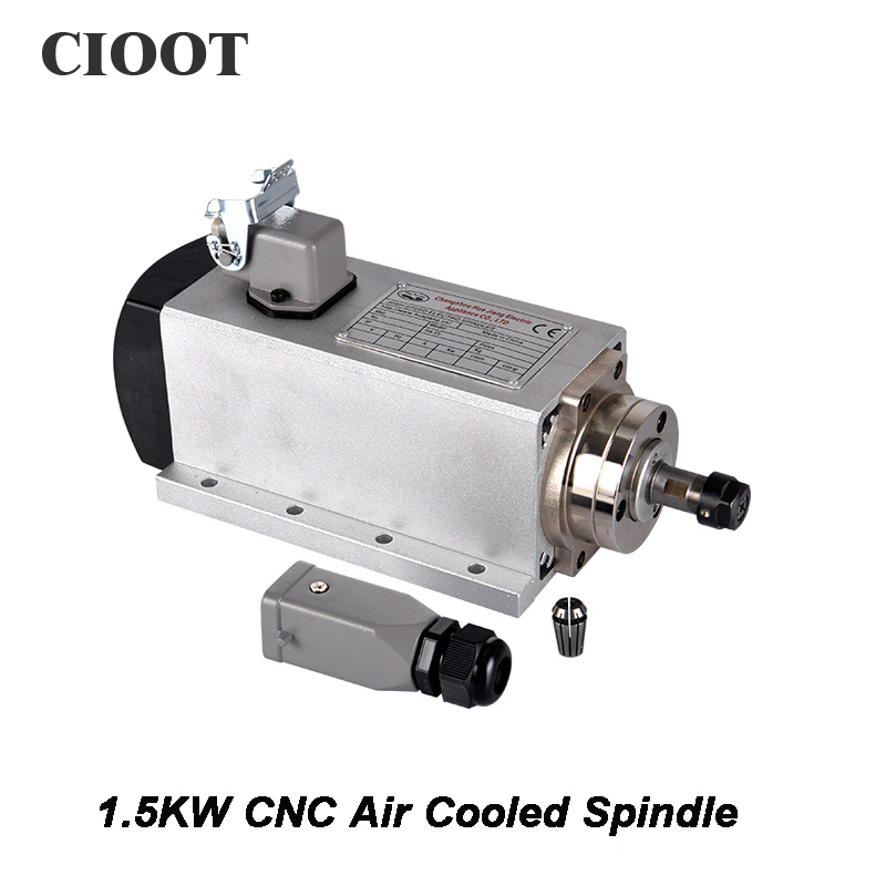 2017 CNC Router Spindle 1.5KW Air Cooled Machine Tool Spindle Motor 220V 110V CNC Square Milling Machine Tools For Engraving bt30 er16 60 tool holder for cnc router spindle motor and milling lathe tool boring end mill