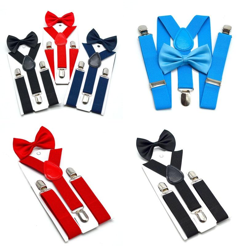 Fashion Kids Elastic Suspenders Bow Tie Set Children Suspenders With Bowtie Boys Girls Fashion Adjustable Sling Suit