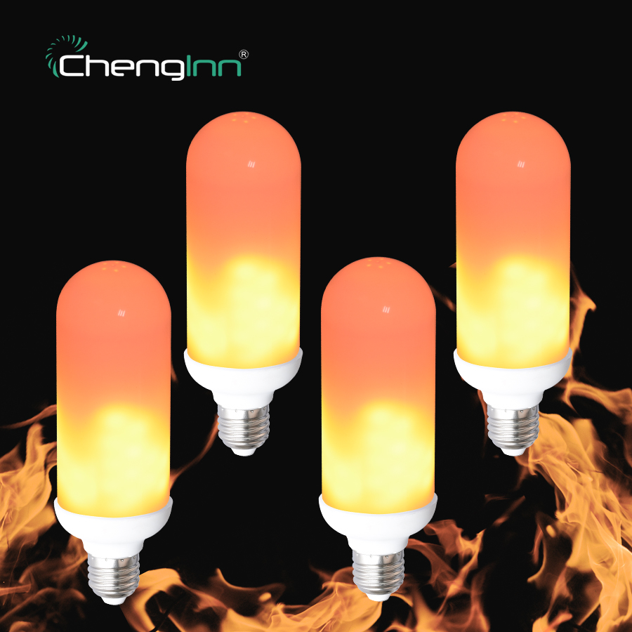 4 Pack LED Flame Effect Fire Light Bulb 2835SMD E27 7W Flickering Emulation LED Lamp Bulbs Atmosphere Decorative Party Corn Ligh