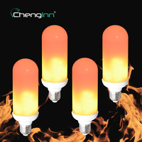 4 Pack LED Flame Effect Fire Light Bulb 2835SMD E27 7W Flickering Emulation LED Lamp Bulbs
