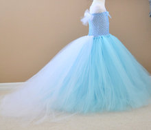 цена на Girls Blue Trailing Tutu Dress Kids Fluffy Crochet Long Tulle Tutus Ball Gown with Veil Shoulder Children Wedding Party Dresses