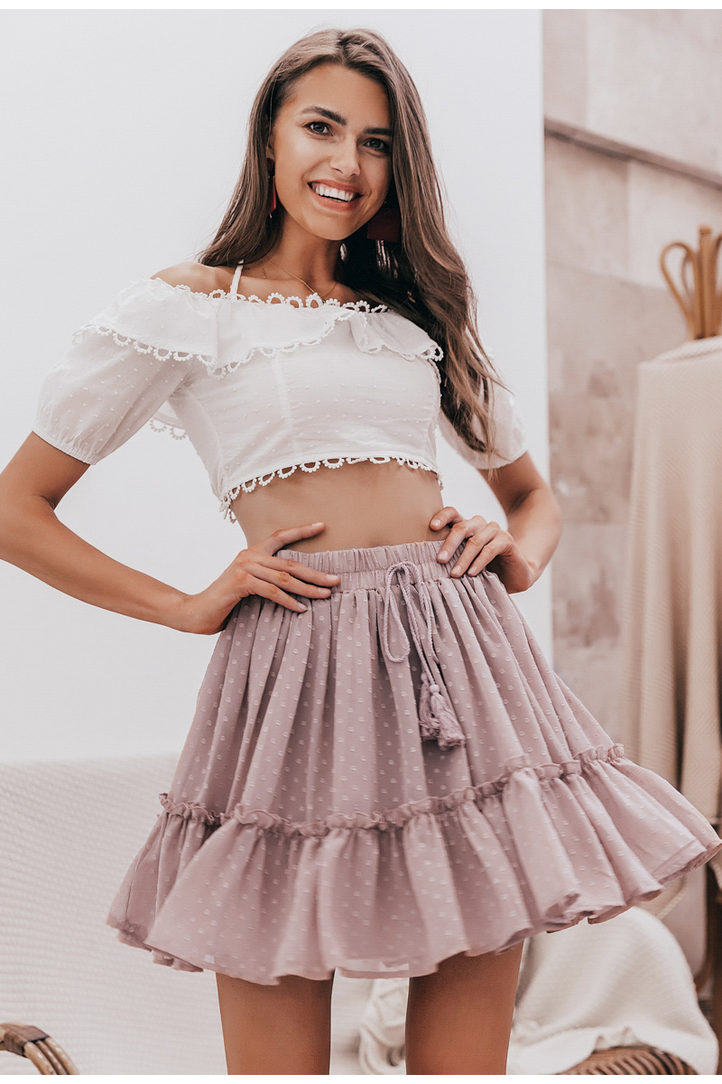 Simplee Casual polka dot mini women skirt High waist A line korean tassel pink summer skirt Sexy ruffle beach female skirts 19 8