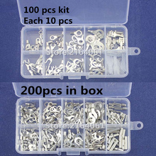 100Pcs 10 kinds Cold naked terminal Non-Insulated Ring Fork Y-type Terminals Assortment Kit Cable Wire Connector Crimp Spade